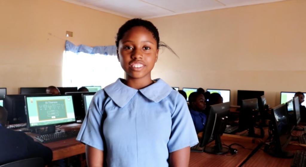 Zambian girl in classroom